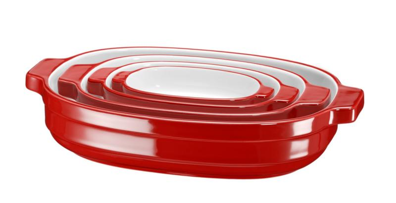 KitchenAid - pekáč keramický - sada 4 ks - královská červená
