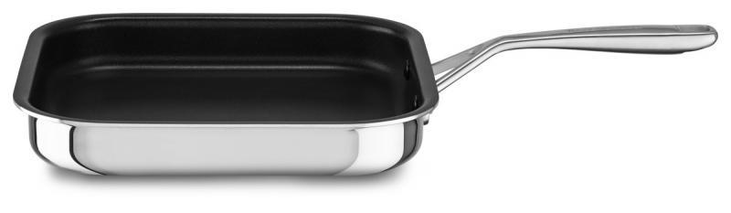 KitchenAid nerezová pánev Grill - 26x26 cm s nepřilnavým povrchem