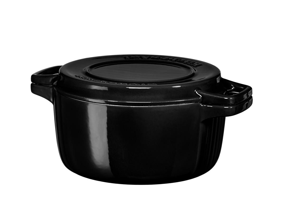 KitchenAid hrnec s poklicí litinový 3,8l, černá 24 cm