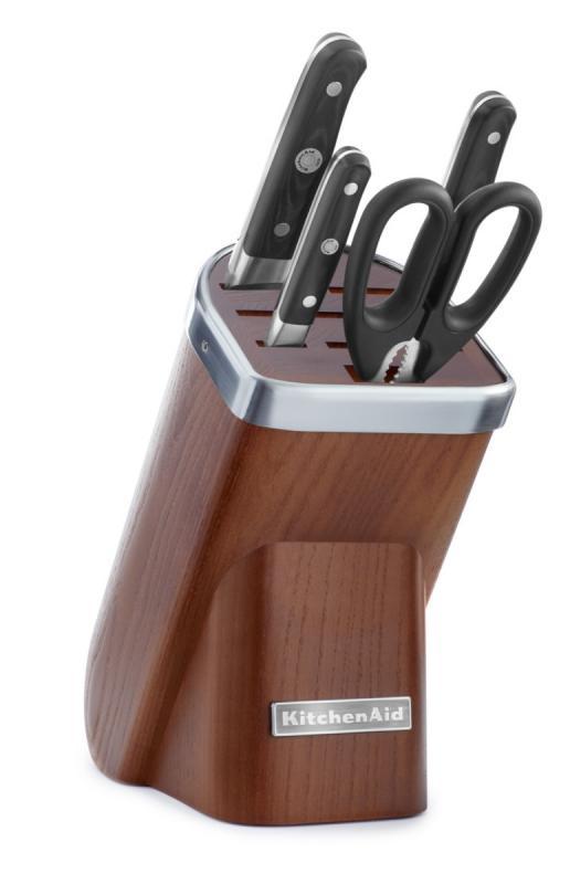 KitchenAid Sada nožů s blokem, 5 ks, přírodní dřevo-tmavý jasan KKFMA05DA