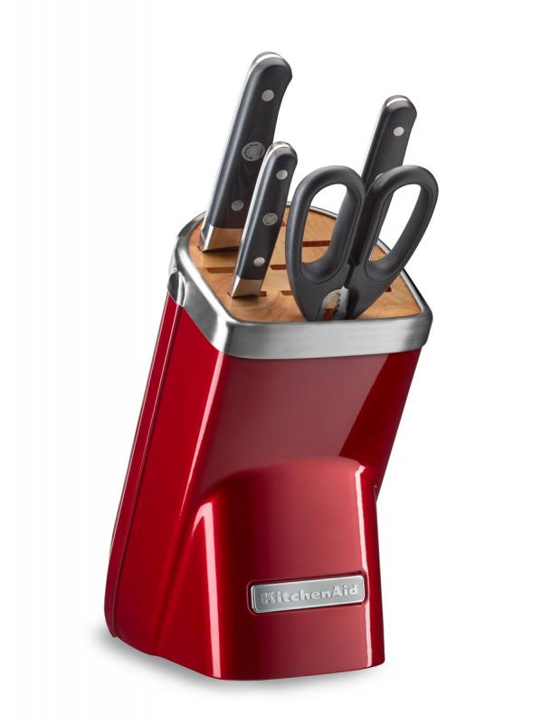 KitchenAid Sada nožů s blokem, 5 ks, červená metalíza KKFMA05ACA