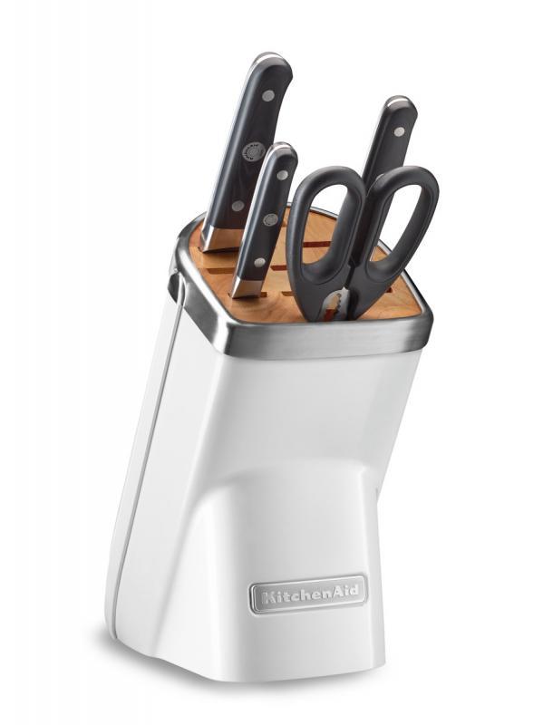KitchenAid Sada nožů s blokem, 5 ks, matně perlová KKFMA05AFP