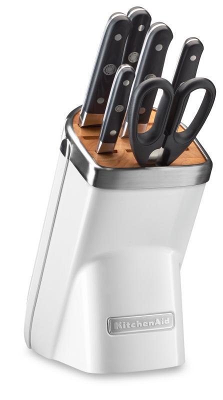 KitchenAid Sada nožů s blokem, 7 ks, matně perlová KKFMA07FP